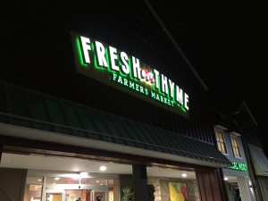 "Fresh Thyme Farmers Market is a grocery store (specialty foods store) that sells both organic and non-organic products. Some people compare this store to a ""Whole Foods"""
