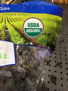 This photo shows an example of what a USDA Organic Certification looks like when placed on foods