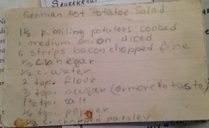 Photo 11. Recipe card for a German potato salad.